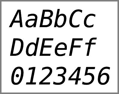 Echantillon de DejaVu Sans Mono italique